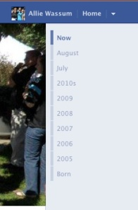 Links to each year you've been on Facebook are aggregated on the right side of your new Facebook profile