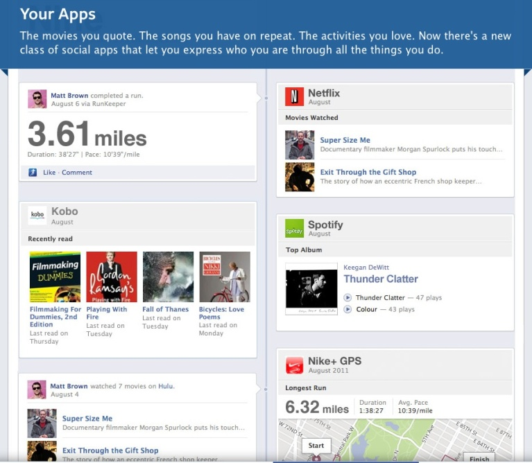 Facebook Timeline and New Apps screen shot